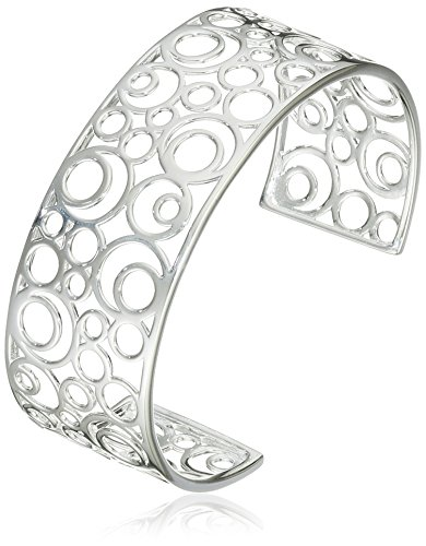 Elements Silver B3174 Ladies' Circles Openwork Cuff Sterling Silver Bangle