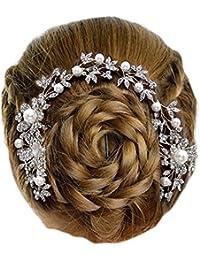 Gioielli ANT Sinfonia sposa drachensilber per capelli pettine matrimonio  Flessibile fiori perline bianco cristallo trasparente 27 676ed9babc26