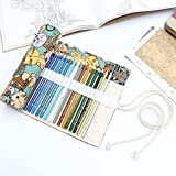 36 Slot Bleistiftbeutel, Canvas Pencil Wrap, Moon mood® 36 Slot Federmäppchen Canvas Pencils Wrap Coloured Pencils Roll Case Pouch Hold Verpackungs Roll Up Beutel Halter Speicher Beutel Schule Briefpapier Bleistift Kasten 50 * 21cm Katzen Stil