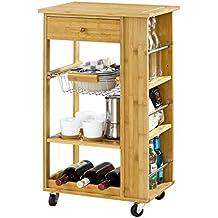 SoBuy® Carrito de servir, carrito de cocina, mesa con ruedas de bambú, FKW12-B-N, ES