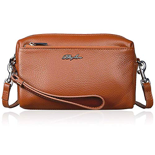 Women Full Grain Leather Cell Phone Purse Wallet Cluth Wristlets Trip Zip Crossbody Bag for iPhone 8/7/6 Plus, Samsung Note 5/4-Brown ...