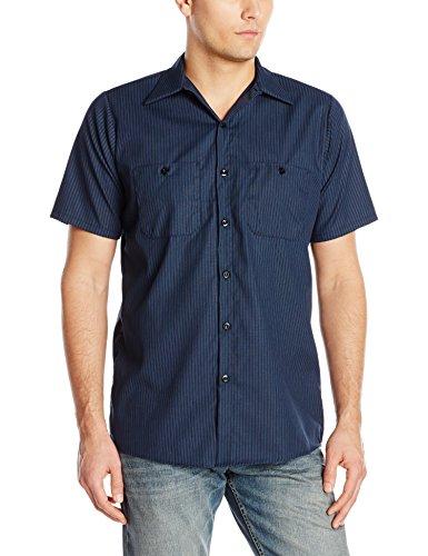 Red Kap Herren Men's Durastripe Performance Tech Shirt, Short Sleeve Work Utility Hemd, Navy/Light Blue Twin Stripe, XX-Large -