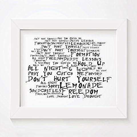 'Noir Paranoiac` Poster Affiche d'art - BEYONCE - Lemonade - Edition signée et numérotée limitée typographie non encadré 20 x 25 cm la musique album mur art haute qualité d'impression - Song lyrics music poster