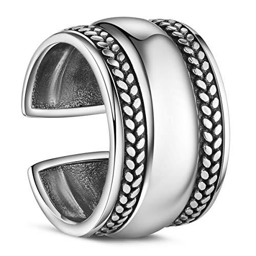 Shegrace anello di barretta dell'argento sterlina 925 con la treccia, regolabile