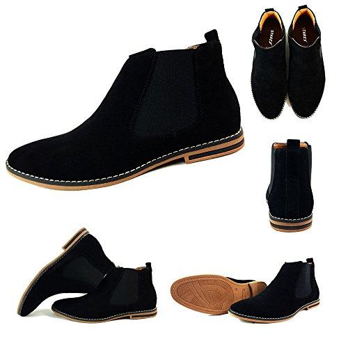 Herren Chelsea Boots, Wildleder, italienischer Stil, sportlich-elegant, Wildleder, schwarz, UK12 / EUR 46