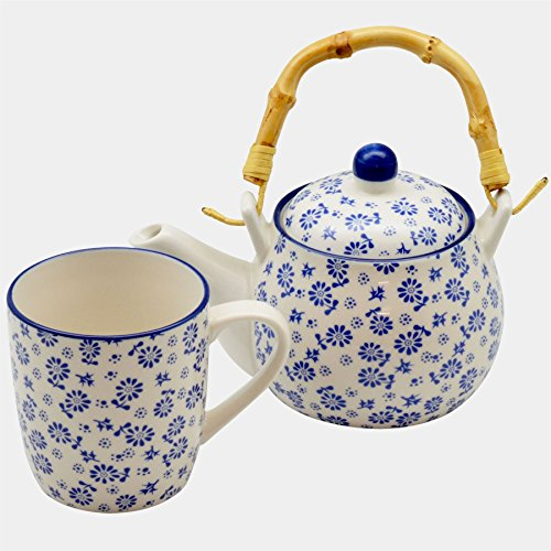 Set aus Tee-/Kaffeekanne mit Bambusgriff & Becher - Gänseblümchenmuster - Weiß & Blau - 500 ml