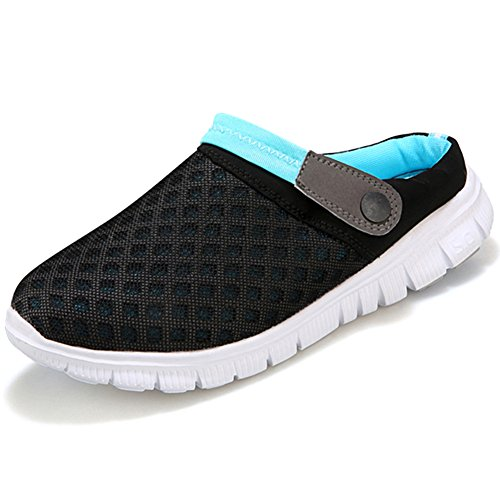 Biomesh Hausschuhe Damen Sommer Atmungsaktiv Herren Pantoletten Vorne Geschlossen Garten Clogs Flip Flop Schuhe Unisex Blau 42