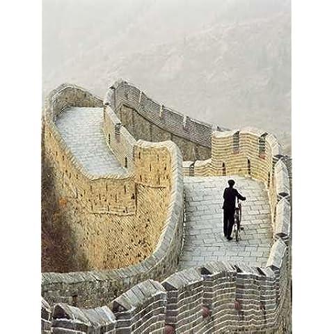 Feelingathome.it, Cuadro en lienzo imprimido, 100% algodón, TELA sobre bastidor que propulsa bicicleta larga para hombre, diseño de la Gran Muralla China cm, 170 x 92 (tamaño personalizables a