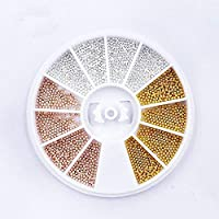 QIMEIYA 1 mm 3D Nail Art Decorations Gold Silver Champagne Metal Materials Beads Wheel All For Nails DIY Nail Ball Wheel (Gold, Silver and Champagne)