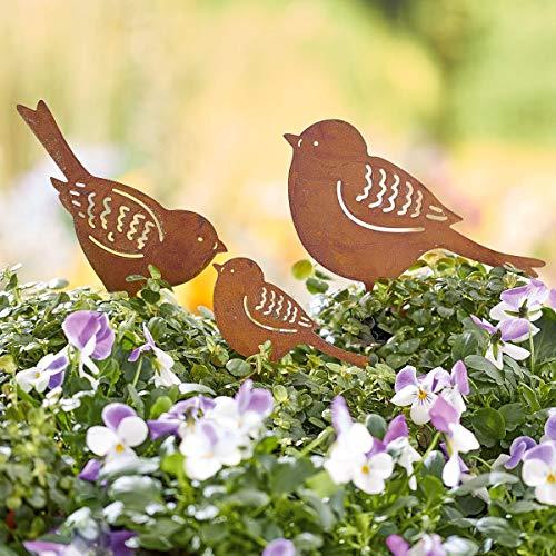 Pureday Gartenstecker Vogelfamilie - 3-teilig - Gartendeko - Metall - Rost