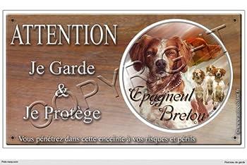 Panneau chien ou plaque Epagneul-Breton 30 cm
