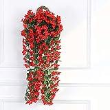 The Fellie Künstliche Veilchen Blumen Weinrebe Hängegirlande Hochzeit Zuhause Party Balkon Dekoration 85 cm (Rot)