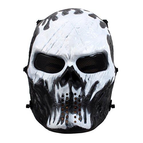 StillCool Maske Halloween Maske Maskerade Karneval Partei Masken Paintball Maske Kompletter Schutz (Weiß)