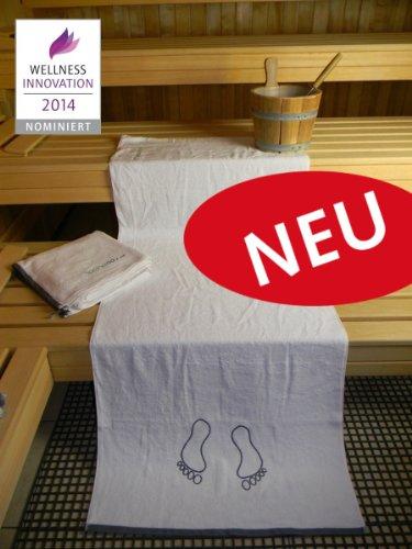 "saunaday - Das neuartige Saunatuch ""Fussrichtung"" - XL 180 cm - 100% NEU - 100% beste Sauna-Qualität"