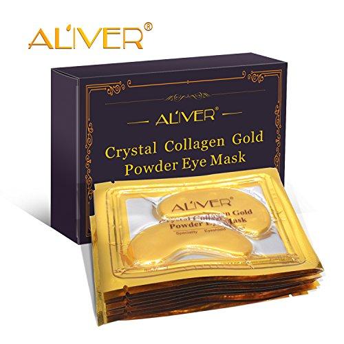 Aliver New Crystal 24K Gold Powder Gel Collagen Eye Mask Gold Eye Mask10 pairs/package