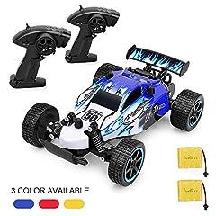 Idea Regalo - Auto Radiocomandata, 1:20 Macchina telecomandata ad Alta velocità per Bambini, 2 batterie a pagamento e Telecomando, Giocattoli per Bambini - Blu