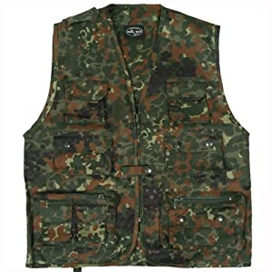 Multi Pocket Waistcoat Multipurpose Vest 14 Pockets Fishing Hunting Flecktarn from Mil-Tec