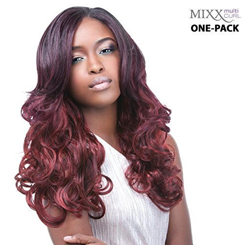 [3 mèches Pack complet + Closure] sensationnel HH Miami de Multi Curl (Mixx) – Human Hair Blend Weave (One Pack Complete)