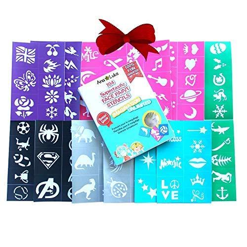 104 Schablonen - Mädchen Jungen Erwachsene. Biegsam, Einfach.Beschäftigen Sie Kinder mit Körper Designs, Kreativität. Super für Geburtstage Weihnachten Silvester Geschenk ()