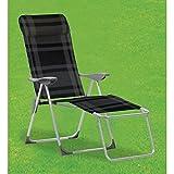 Buri Liegesessel Schwarz Grau Relaxliege Sonnenliege Klappstuhl Gartenstuhl Camping
