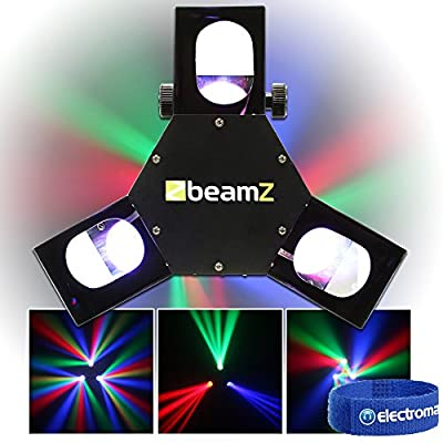 Beamz Triple Flex Professional Mobile DJ Colour LED Scanner Party Light Rotating Disco Lighting