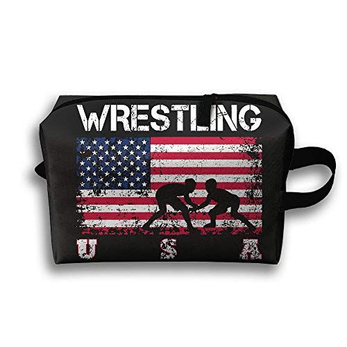 Wrestling American Flag Portable Multifunction Large Travel Cosmetic Pouch Bag Makeup Bags Wash Organizer