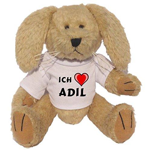 Preisvergleich Produktbild Plüsch Hase mit T-shirt mit Aufschrift Ich liebe Adil (Vorname/Zuname/Spitzname)