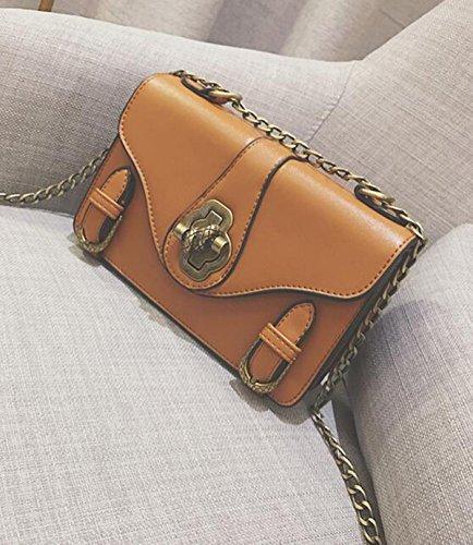 QPALZM 2017 Frau Lock Messenger Messenger Kleines Paket Einfache Freizeitkette PU Handtasche Handtaschen Brown