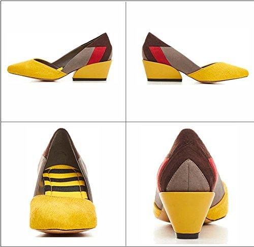 NobS Femmes Talon Compensé Talon Pointu Talons Hauts Chaussures DéContractéEs Clolor Yellow