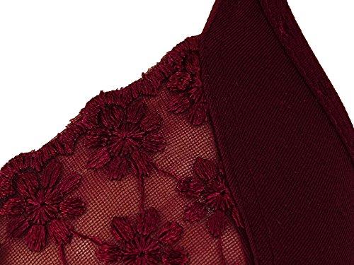 Nutex-Sangini Wirefree Damen Blumen Spitze BH & Panty Full Coverage Nicht Gepolsterte Damen Dessous Kastanienbraun