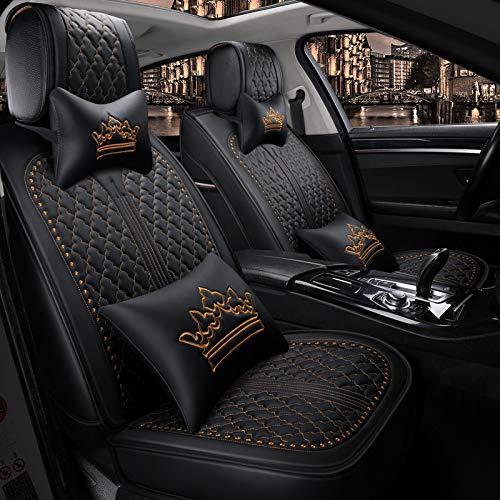 Luxus PU Leder Auto Autositzbezüge 5 Sitze Full Set Universal Fit. (Luxuriöses Schwarz-Gold)