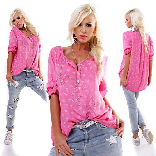 Moda Italy Bluse Tunika Oversized FISCHERHEMD FLAMINGO STAR Pink