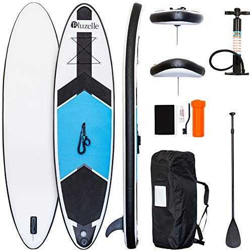 bluzelle All-in-One SUP Paket, Aufblasbares Stand Up Paddling Board Double Layer, Paddel, Pumpe, Leash, Rucksack Kit - Komplett Set, Farbe:Blau Weiß