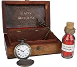 Oye Happy Vintage Wooden Box with Message in a Bottle and Vintage Pocket Watch Birthday Gift for Men Birthday