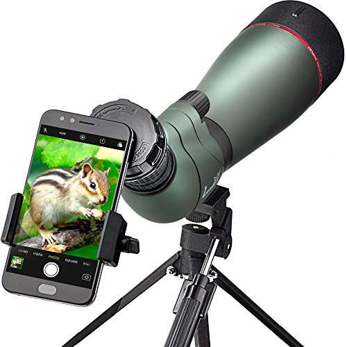 Landove Waterproof Spektiv 20-60X 80mm, High Power mit Stativ & Digiscoping Adapter, stoßfest, beschlagfrei, BAK4 Porro Prisma, voll Multi-Coated Optik