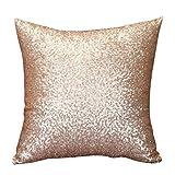 Internet Paillettes Sequins canapé lit Home Café Decor taie d'Oreiller Carré Housse de Coussin Invisible Fermeture à glissière (40cm*40cm, Or)