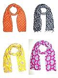 #7: Sri Belha Fashions Combo Set Of 4 Pcs Scarves Soft PolyCotton Fashion Trendy Women's Summer Scarf