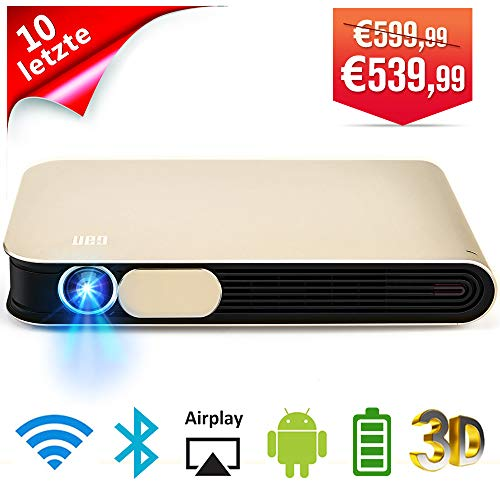WOWOTO DLP Beamer 3D Full HD LED Projektor 3500 Lumens 1280x800 Unterstützt 1080P mit Akku Android WiFi Bluetooth AirPlay HDMI USB AV für Laptop Handy PC TV Box DVD Player Heimkino Beamer