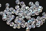 50 Preciosa Glasschliffperlen 3mm Feuerpoliert Facettiert Rund TSCHECHISCHE Kristall Perlen Farbauswahl (Crsytal AB)