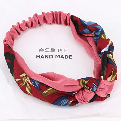 ZNYH Cross Stirnband Breitseite Hoop Stirnband Haarfarbe passende Blumen Farbe weinrot Farbband Rose Blume +