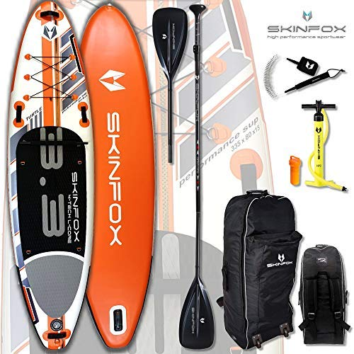 SKINFOX Turtle aufblasbares 4-lagiges SUP Paddelboard NEUESTE Generation 4 TECH L-CORE (335x80x15/Tragkraft 175 kg) Carbon-Set orange TESTSIEGER 2018 (Board,Bag,Pumpe,Carbon SUP-/Kayak Paddel+Leash)