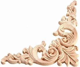 Rishil World 12.5x12.5CM Wood Carving Decal Corner Applique Frame for Wall Wardrobe Door Decoration