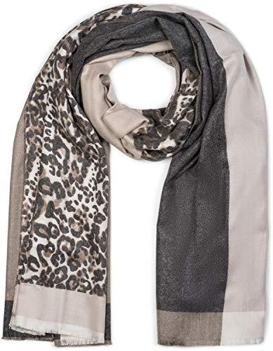 styleBREAKER Damen Schal 3-farbig mit Leo Muster, Winter, Stola, Tuch 01017101, Farbe:Braun-Beige-Dunkelgrau