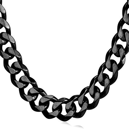 U7 Herren Panzerkette 12mm Schwarz Metall plattiert Halskette Gliederkette Hiphop Biker Rocker Kette Schwarz Ton (Länge 46cm)