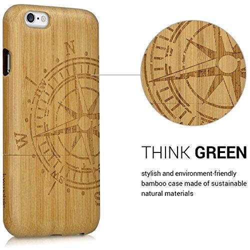 kwmobile Hülle für Apple iPhone 6 / 6S - Rosenholz Case Handy Schutzhülle - Hardcase Cover Indische Sonne Design Dunkelbraun Kompass Hellbraun