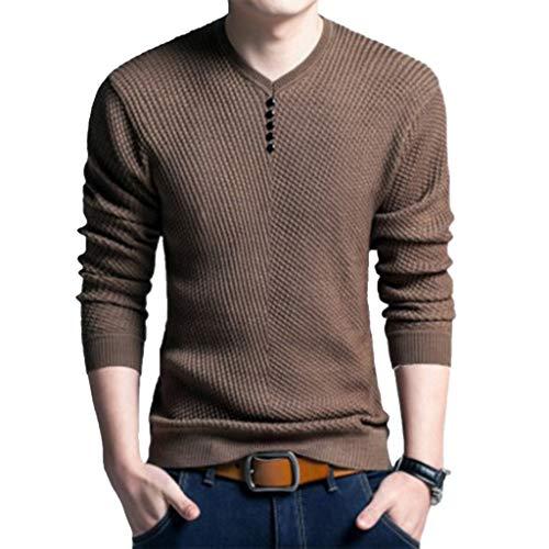 DNOQN Herren Pullover Slim Fit Baumwoll Shirts Herren Mode Lässig Gefälschte Taste Streifen Strick Langarm Shirt 52/XL/115