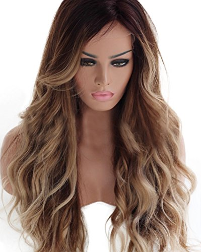 HotQueen 8A 100% Brazilian Human Hair Wigs Remy Long Ombre Brown Wavy Lace Front Wig (Human Hair Lace 100)