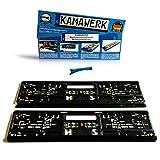 KAMAWERK Kfz Kennzeichenhalter Auto (2er Set) Schwarz - Nummernschildhalterung 52cm EU Standard Kennzeichen - Lackschutz