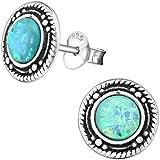 EYS JEWELRY runde Damen Ohrstecker 925 Sterling Silber oxidiert Opal 9 mm türkis Ohrringe