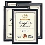 Umi. Essentials Lot de 4 cadres pour photos et diplômes, posables et fixables au mur, format A4, Noir